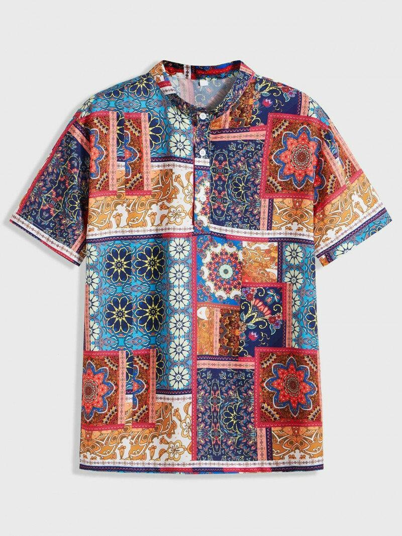 Boys Stand Collar Tribal Printed Casual Wear Shirt