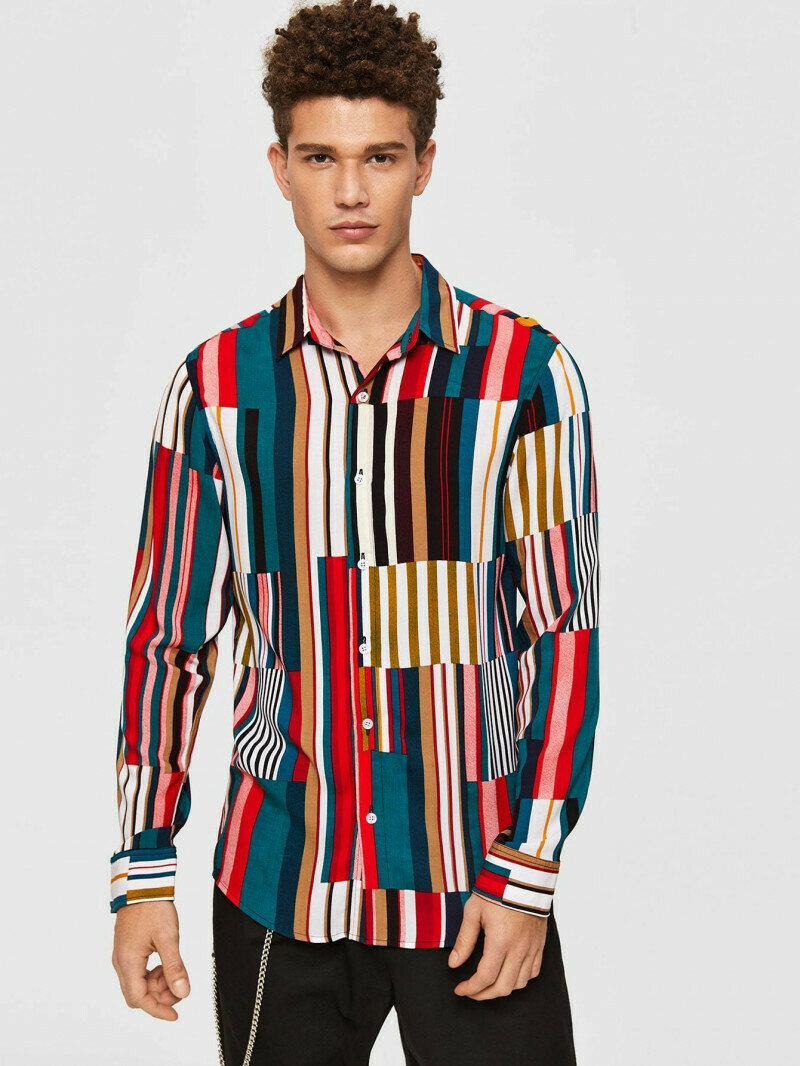 Boys Curved Hem Colorful Medium Striped Shirt