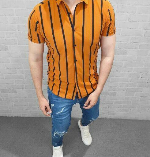 Boyss Button Up Small Striped Yellow  Full Stitched Shirt