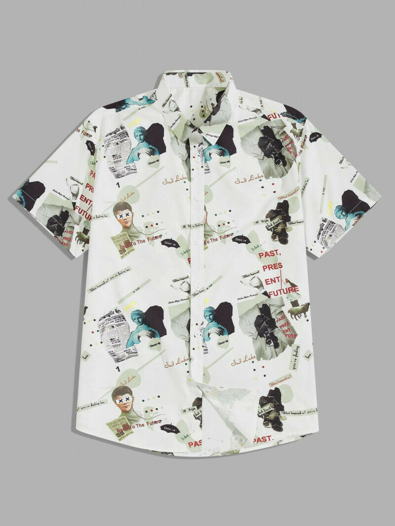 Boys Button Through Figure And Letter Graphic Printed Shirt