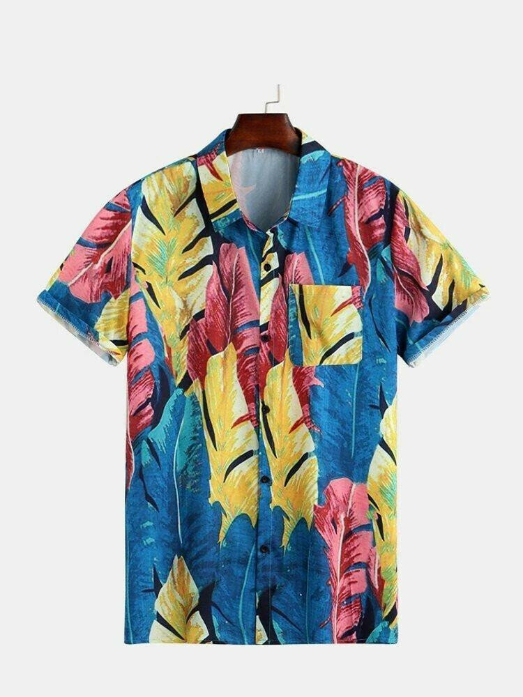 Men Plants Printed Half Sleeve Beach Wear Shirt