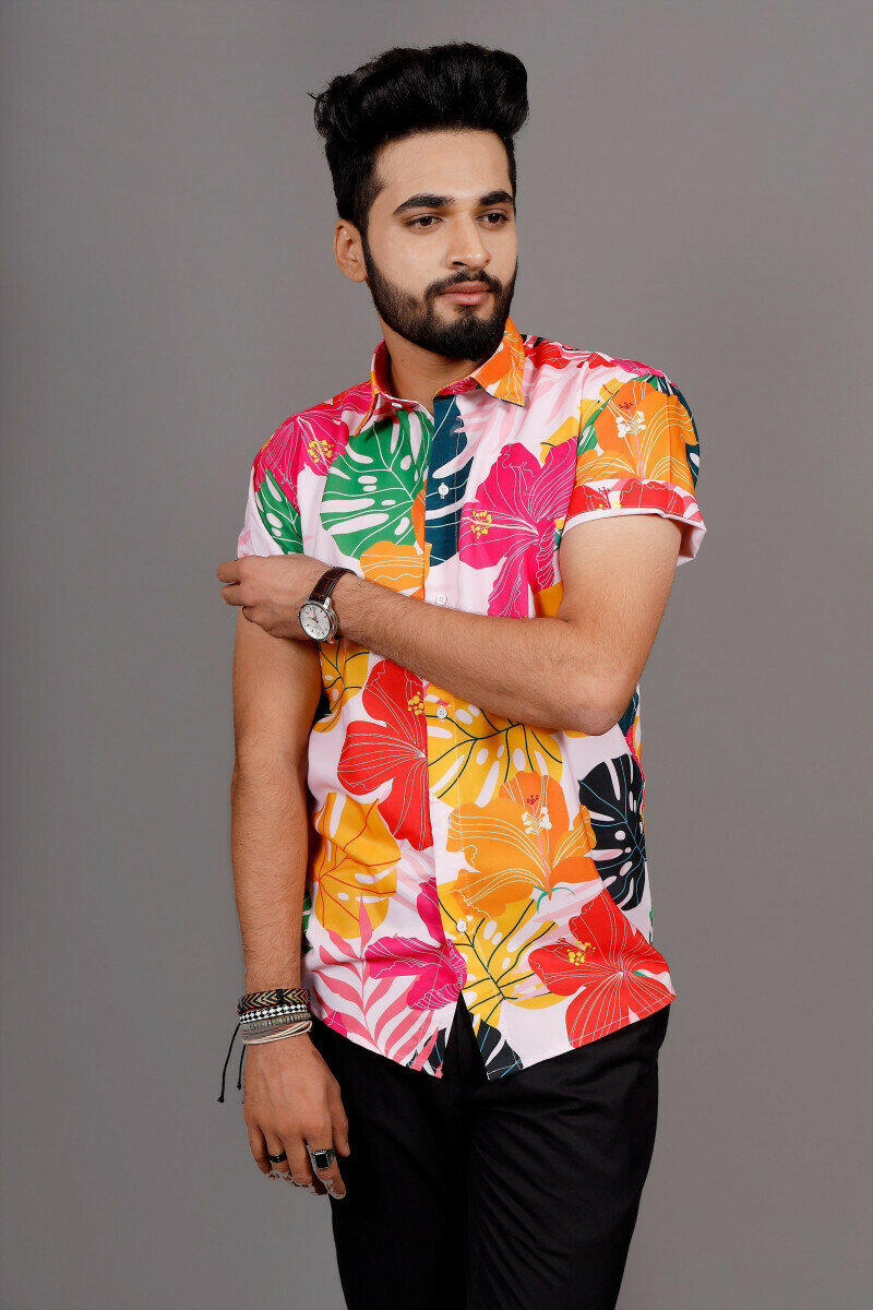 Boys With Floral Printed Short Sleeve Shirt