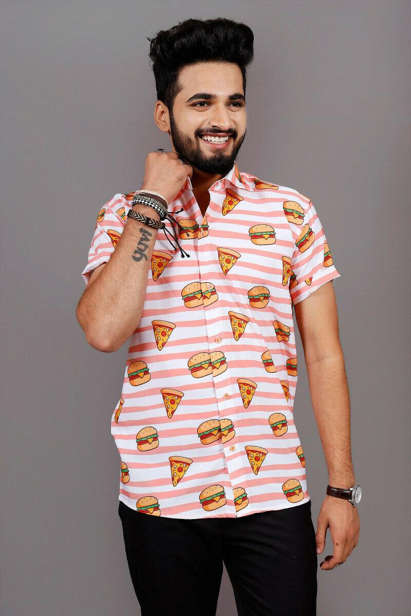 Boys Fast-Food Pattern Printed Short Sleeve Shirt Online