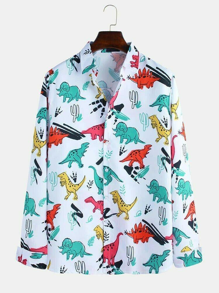 Boys  Funny Cartoon Dinosaur Printed Long Sleeves Lapel Shirt