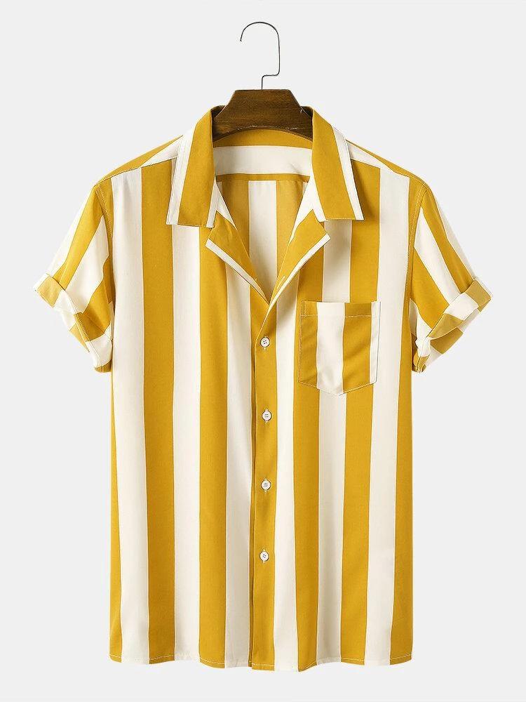 Casual Yellow Medium Striped Shirt