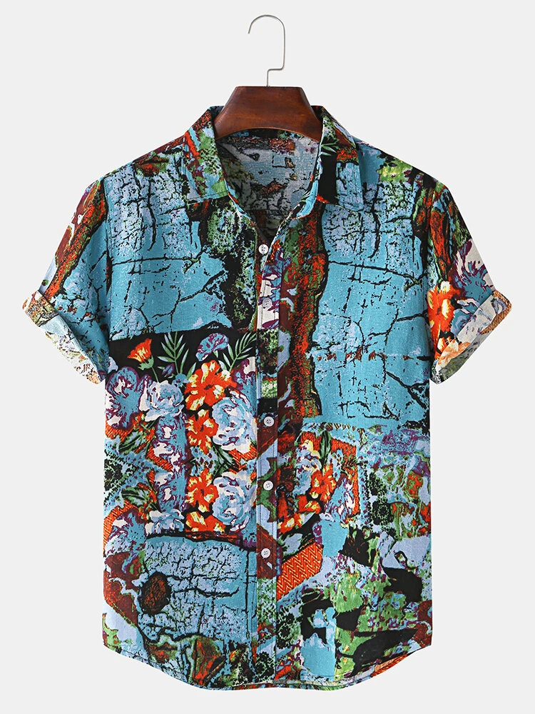 Mens Wear Reyon Fabric Floral Printed Relaxed Shirt Online