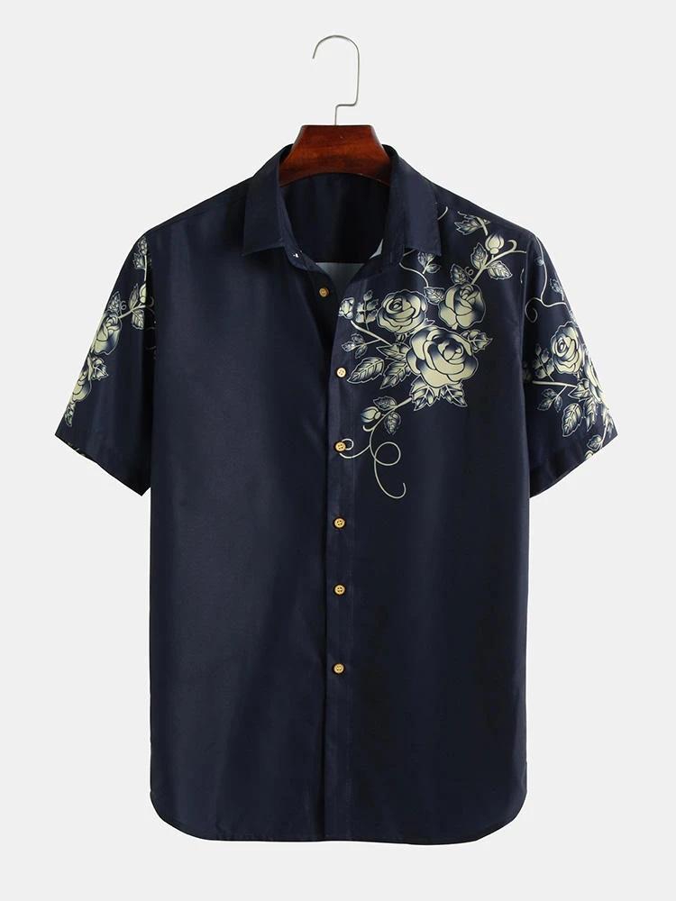 Mens Wear Rayon Fabric Digital Printed Navy Blue Color Shirt