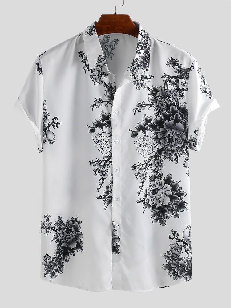 Shirt For Mens Rayon Fabric Flower Design  Printed Shirt