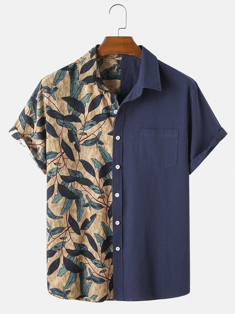 Two Sided Navy Blue And Leaf Printed Attractive Casual Wear Shirt