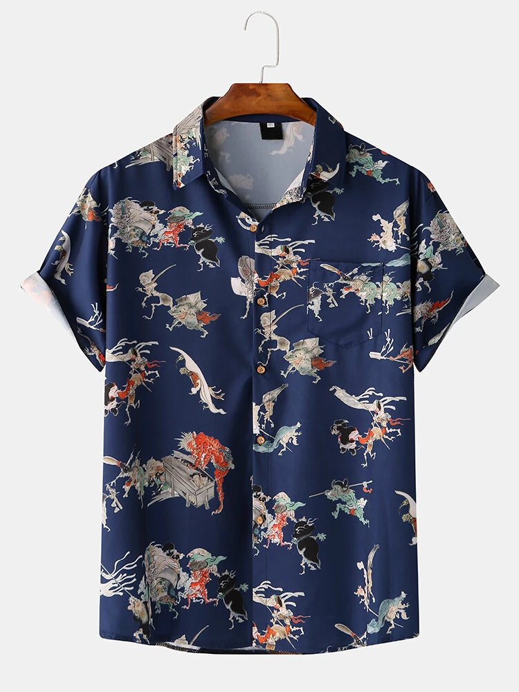 Most Demanded Navy Blue Color Digitally Printed Casual Shirt