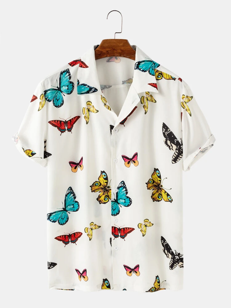 Beautifully Butterfly Printed  White Half Sleeves Shirt