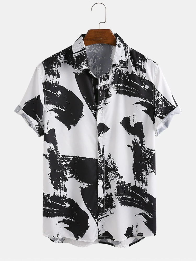 Black And White Floral Printed Attractive Shirt Online