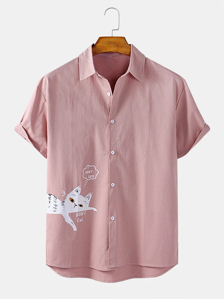 Baby Pink Colored Cat Printed Relaxed Casual Wear Shirt