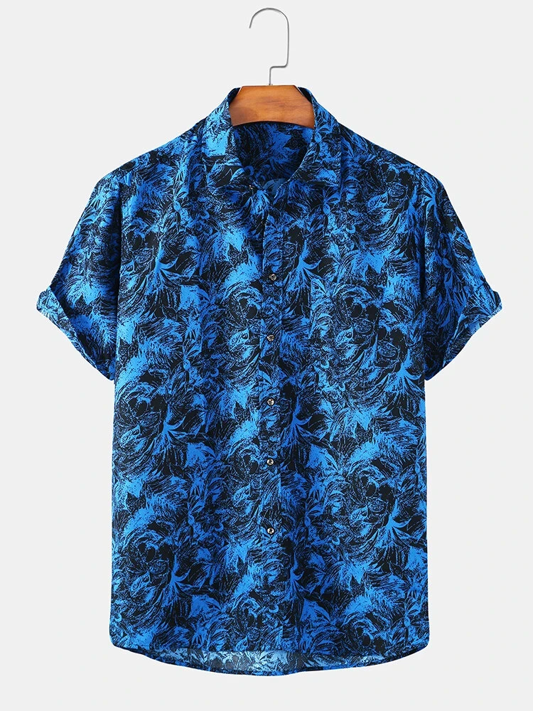 Digital Tree Printed Casual Wear Half Sleeves Shirt