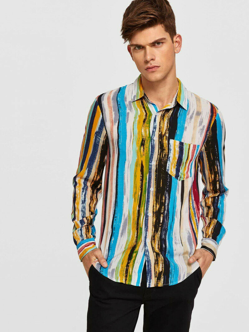 Boys Patch Pocket Colorful Attractive Striped Shirt