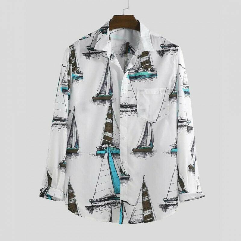 Attractive Sailboats Printed White Color Long Sleeve Shirt