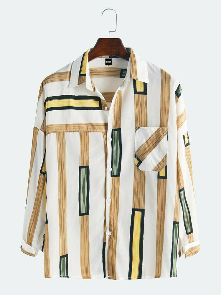 Boys Colorful Lane Long Sleeve Casual Wear Shirt