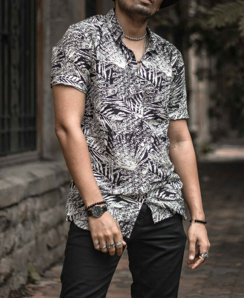 Black And White Leaves Printed Short Sleeve Shirt Online
