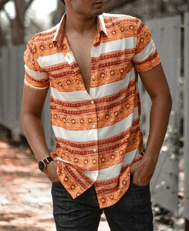 Medium Striped Tribal Printed Short Sleeve Shirt