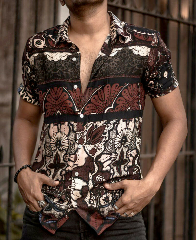 Multicolored Printed Short Sleeve Shirt