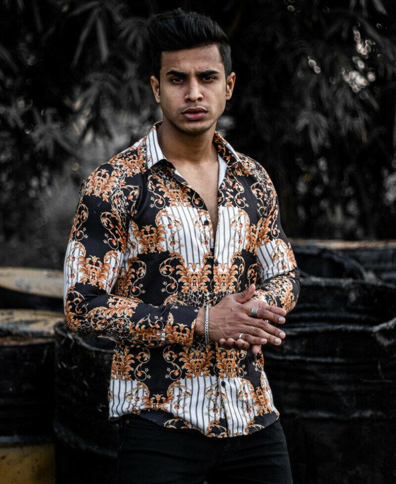 Buy Trendy Black Vintage Ethnic Printed Full Sleeve Shirt Online