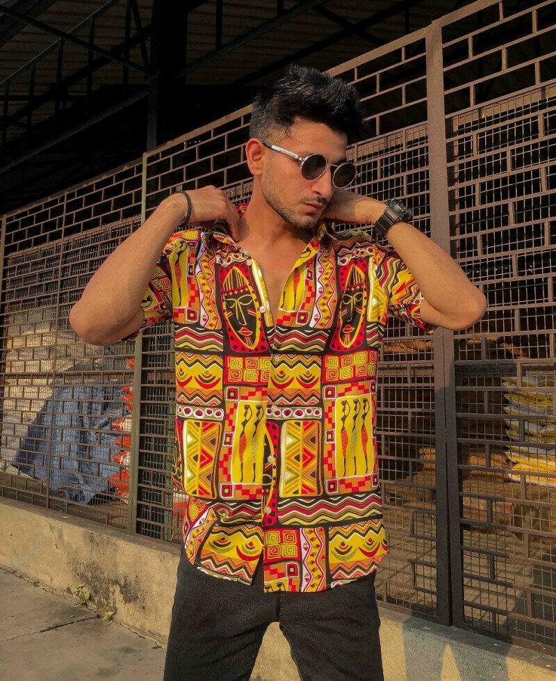 Yellow Ancient Print Half Sleeves Shirt
