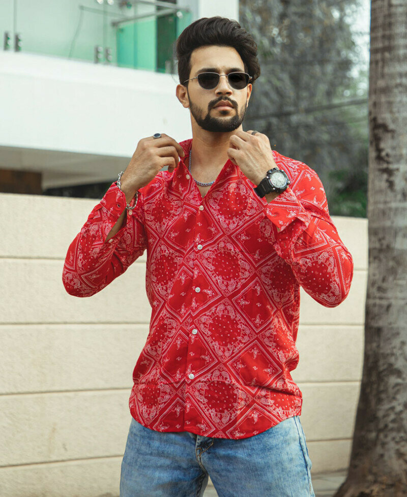 Trendy Online Red Mix Paisley Printed Full Sleeves Shirt