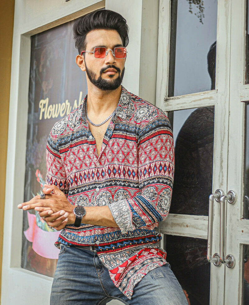 Attractive Urban Red Printed Full Sleeves Shirt