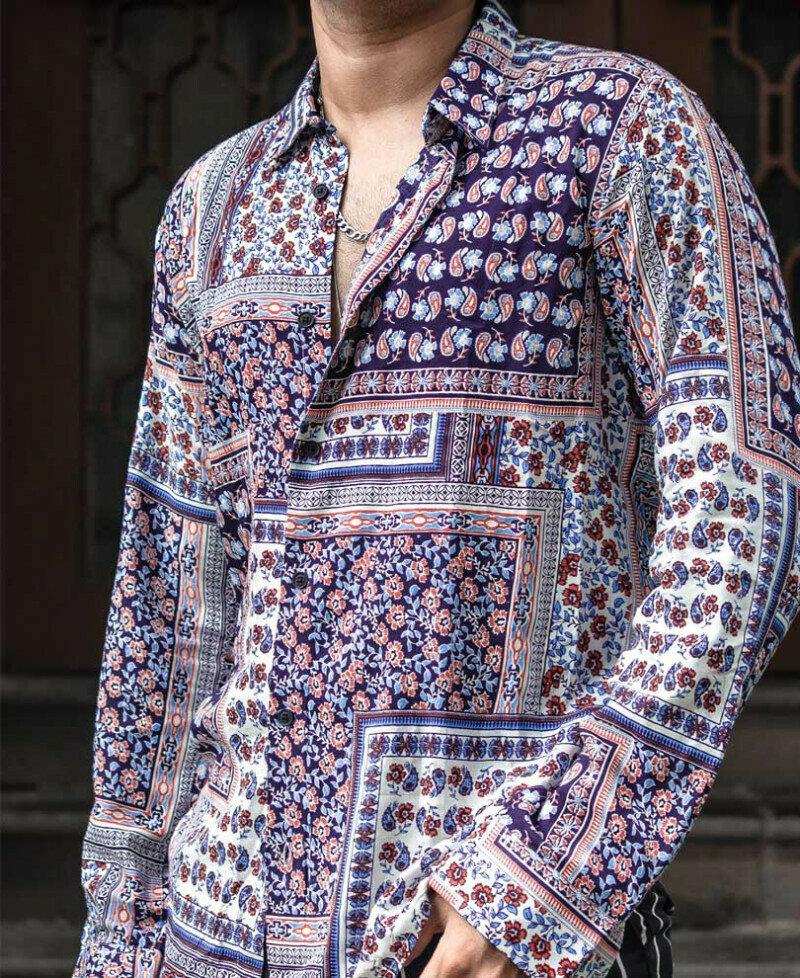 Trendy Blue And White Paisley Print Full Sleeves Shirt Online