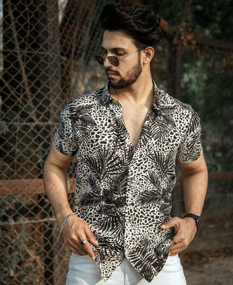 Leaves Printed Half Sleeves Shirt For Men