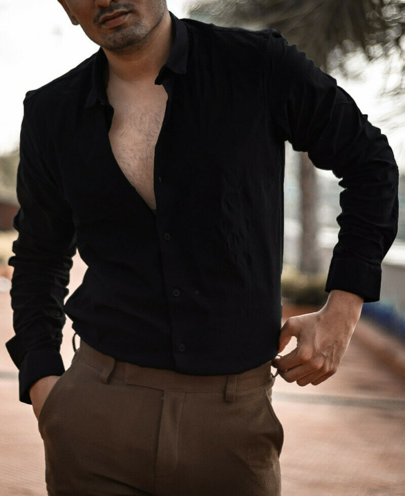 Plain Attractive Mens Black Stretchable Full Sleeves Shirt