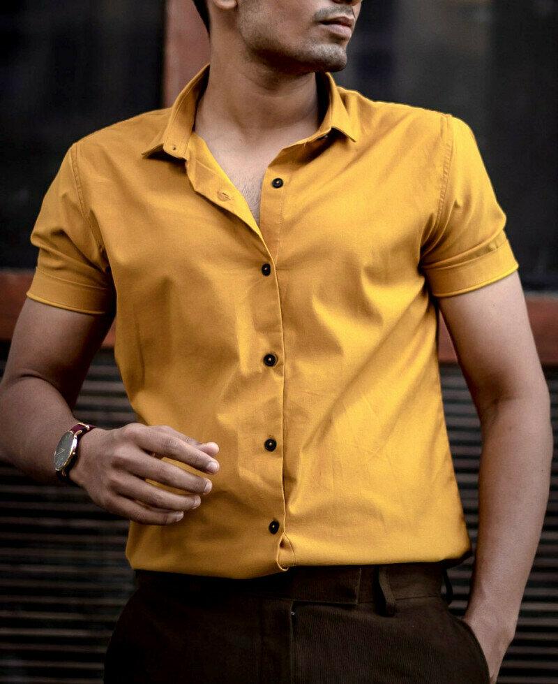 Attractive Mustard Plain Casual Short Sleeves Shirt