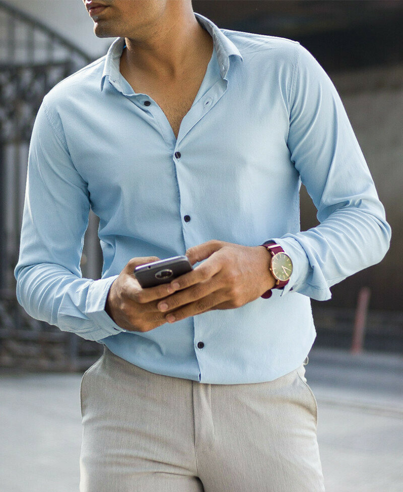 Buy Online Trendy Sky Blue Casual Full Sleeves Shirt