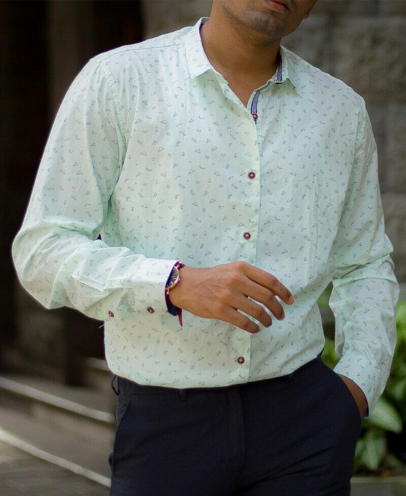 BOYS Light Green Formal Printed Full Sleeves Shirt