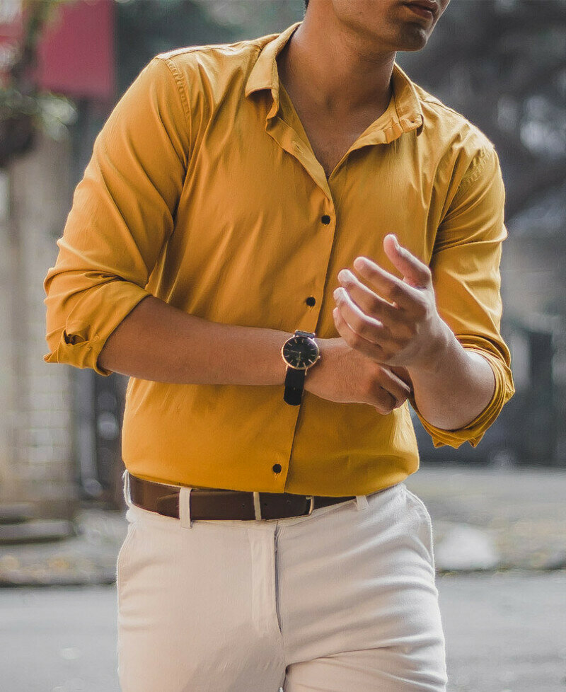 Boys Wear Attractive Mustard Stretchable Full Sleeves Shirt