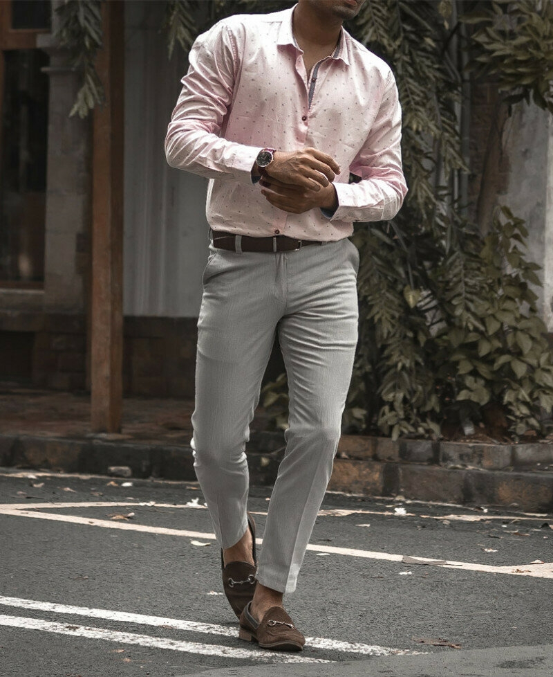 Buy Online Trendy Pink Plain Formal Digital Printed Full Sleeves Shirt