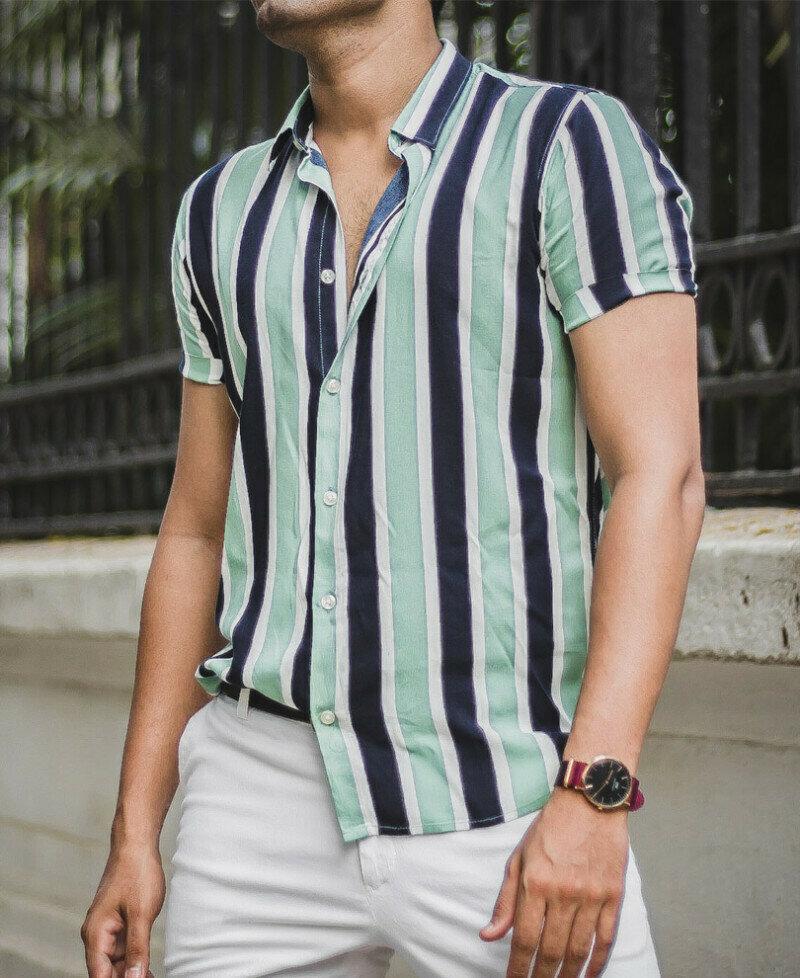 Buy Pista Green Mediuam  Stripes Short Sleeves Shirt