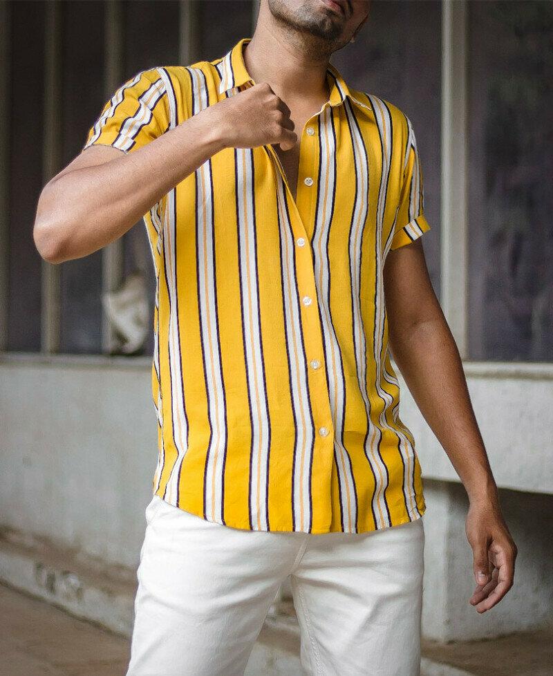 Buy Online Yellow Multi Stripes Shirt