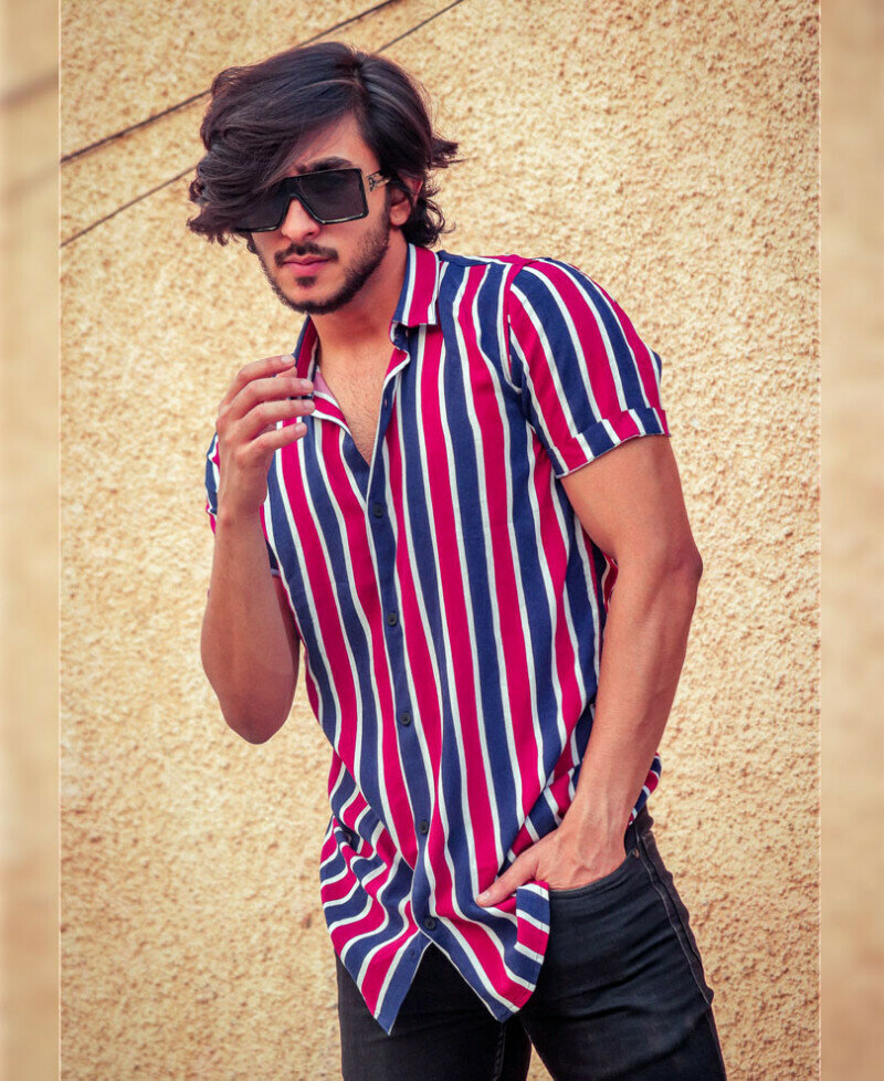 Attractive Red and Navy Blue Stripes Half Sleeves Shirt