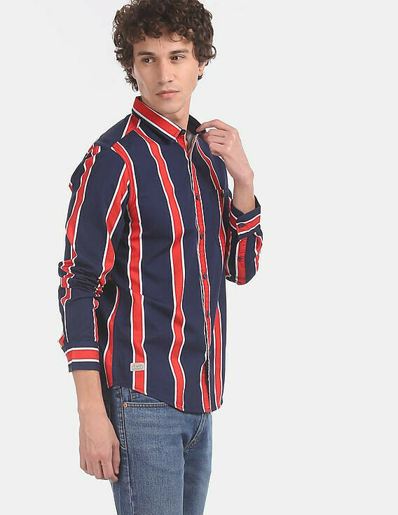 Buy Online Navy And Red Spread Collar Vertical Stripe Cotton Full Sleeve Shirt