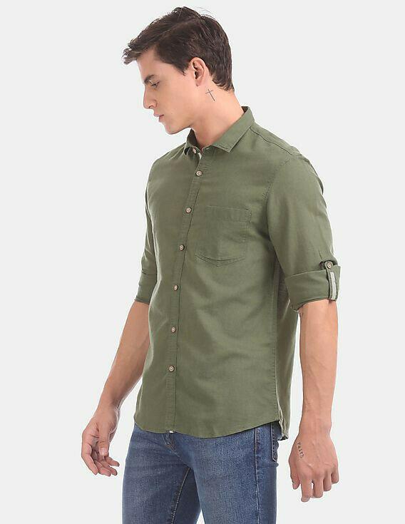 Most Trendy Green Roll Upfull  Sleeve Casual Wear Shirt