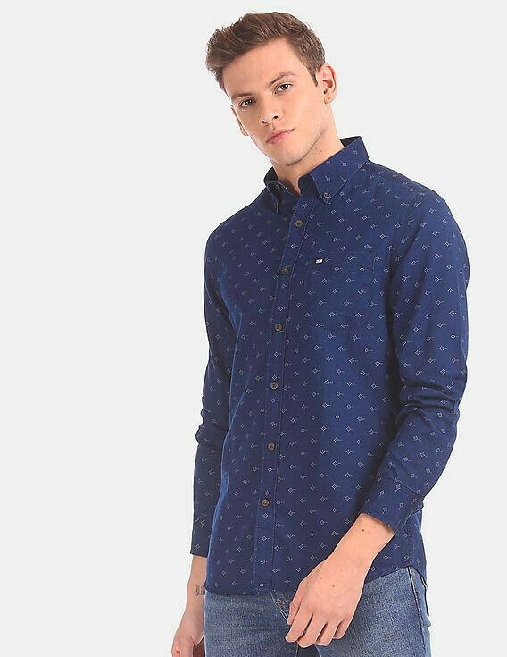 Buy Formal  Men Blue Allover Printed Casual Shirt