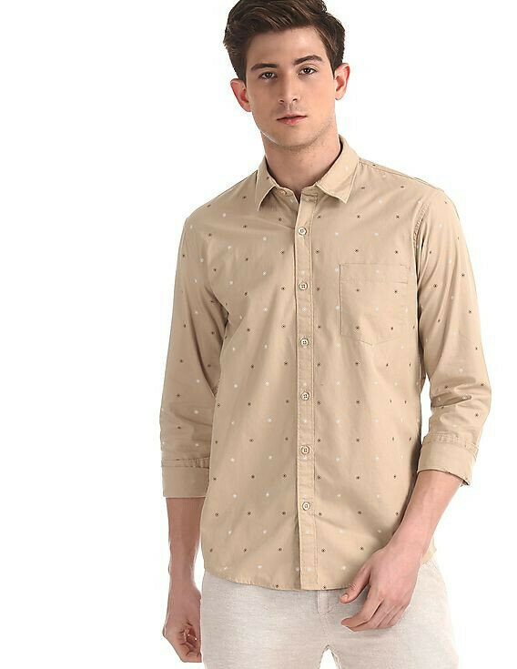 Attractive Beige Patch Pocket Full Sleeves Printed Shirt