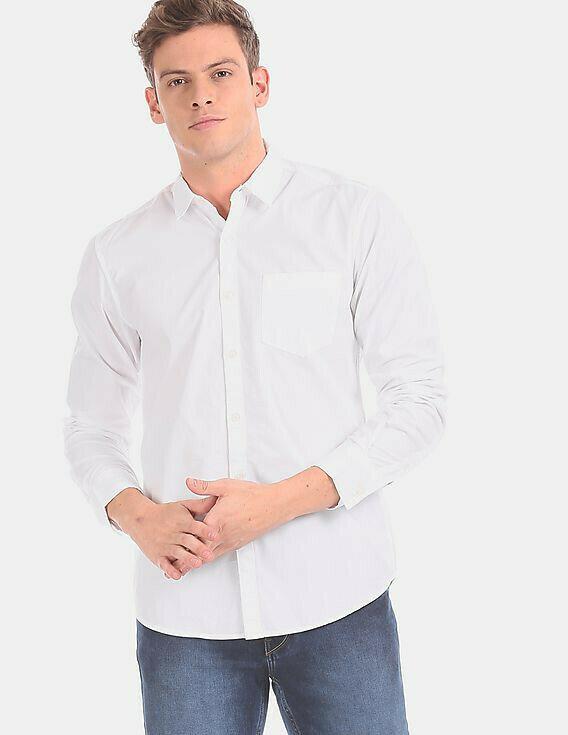 Plain White Men Wear Spread Collar Solid Casual Shirt