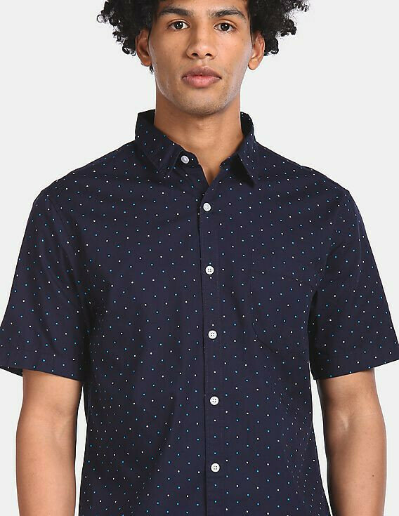 Buy Trendy Mens Navy Allover Printed Half Casual Shirt
