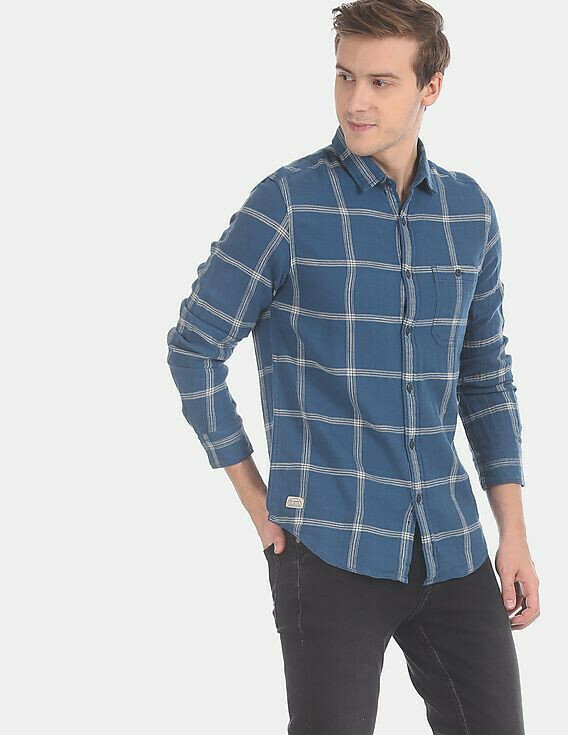 Attractive Mens Wear Blue Color Windowpane Check Cotton Casual Shirt