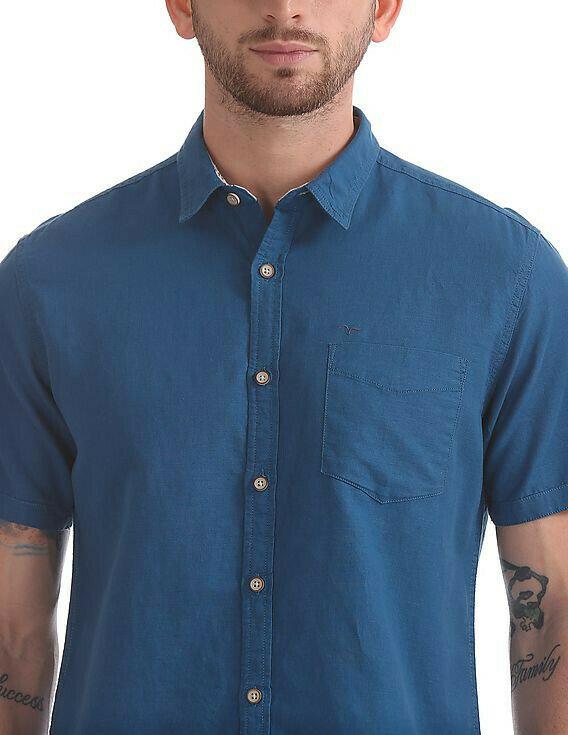 Buy Online Solid Cotton Sky Blue  Half Sleevs Shirt