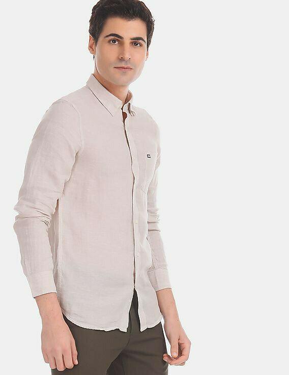 Plain Beige Slim Fit Casual Full Sleeves Shirt