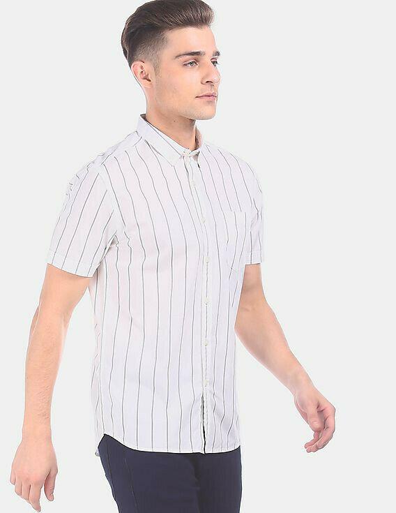 Boys White Button Down Stripes Casual Shirt Online
