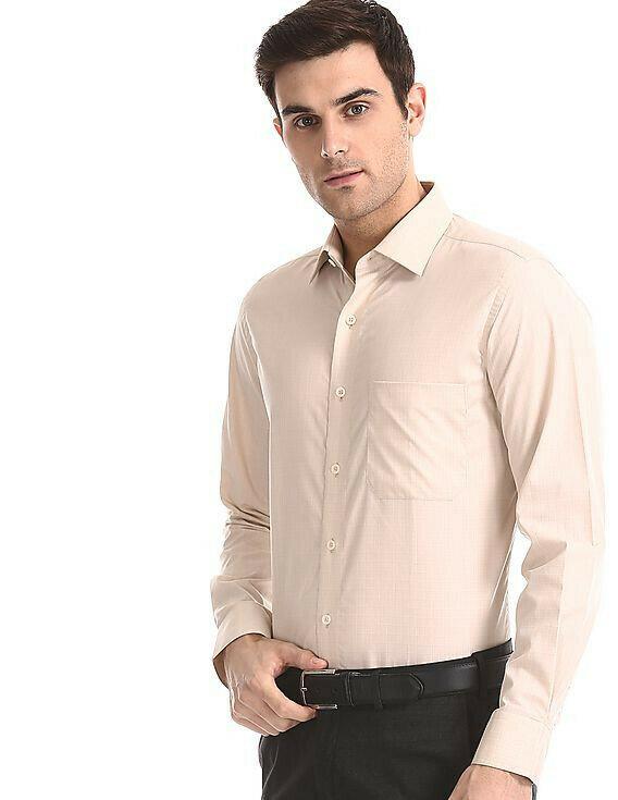 Attractive Plain Beige Formal Look Fulll Sleeves Shirt